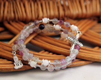 Our Lady of Fatima Rosary Bracelet, Rainbow Fluorite and Shell