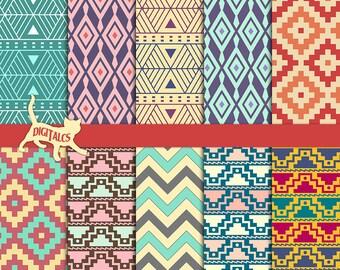 Aztec digital paper aztec Tribal digital paper tribal Geometric digital paper pack Printable paper