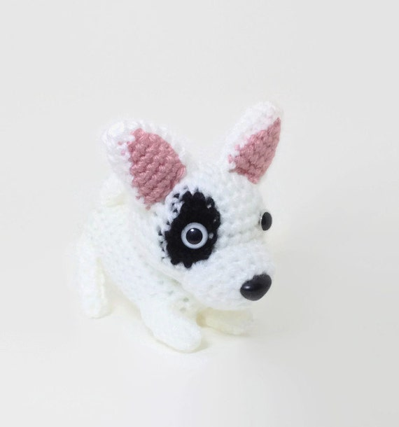 Bull Terrier Amigurumi Dog Handmade Crochet Dog Stuffed Animal Doll / Made to Order