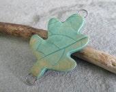 Copper Patina Porcelain Leaf Link