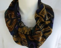 Silk Collar Infinity Scarf Abstract Black White Tan Purple Green Loop Circle Scarf