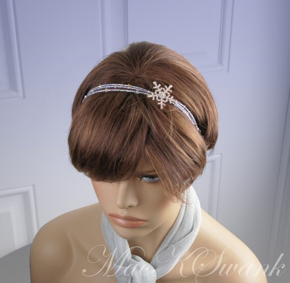 Frosty Blue Snowflake Rhinestone Headband with Swarovski Crystals