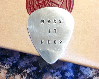 Stamped Guitar Pick - Customized Hand Stamped - Guitar Pick - Music speaks to the soul