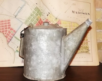 vintage watering can galvanized metal two handled
