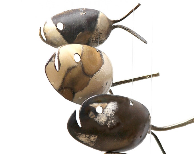 Rustic Spooky Grouper Spoon Fish Wind Chimes - Halloween Decoration For Outdoors - Halloween Special - Tan And Silver Patina Rustic Grouper