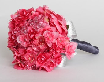 Sale In Stock Hot Pink Toss Bouquet | Fuchsia Bridal Bouquet | Bridesmaid Bouquet | Pewter Silver Trim | Handmade | Modern Bride | 1000440
