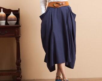 Linen Long Maxi Skirt - Blue - Women Clothing (R)