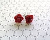 Strawberry Red Rose Ear Studs