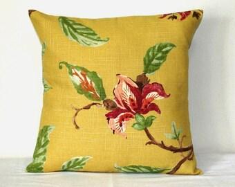 Yellow Gold Linen Toss Decorative Pillow 18 x 18 inch Throw Cushion Cover