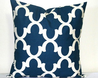 Moroccan Blue and White Lattice 18 x18  inch Trellis Decorative Toss Pillow Cushion Cover
