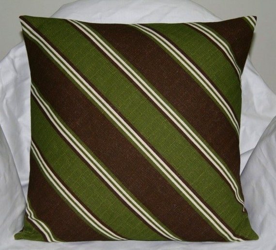 green and brown 18 inch diagonal striped decorative pillow. Black Bedroom Furniture Sets. Home Design Ideas