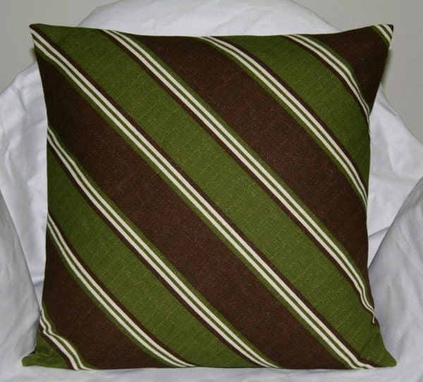 Green and Brown 18 inch Diagonal Striped Decorative Pillow
