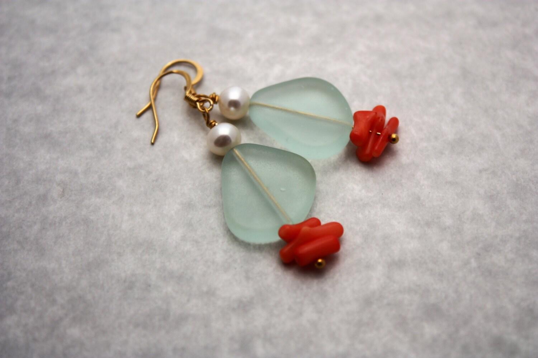sea glass earrings sea glass jewelry seaglass earrings