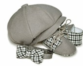 Lucas Baby Boy Hat,Bow Tie and Shoes Set, Grey Wool Houndstooth. Ring Bearer, Christening, Sporty, Infant, Handmade by pink2blue.