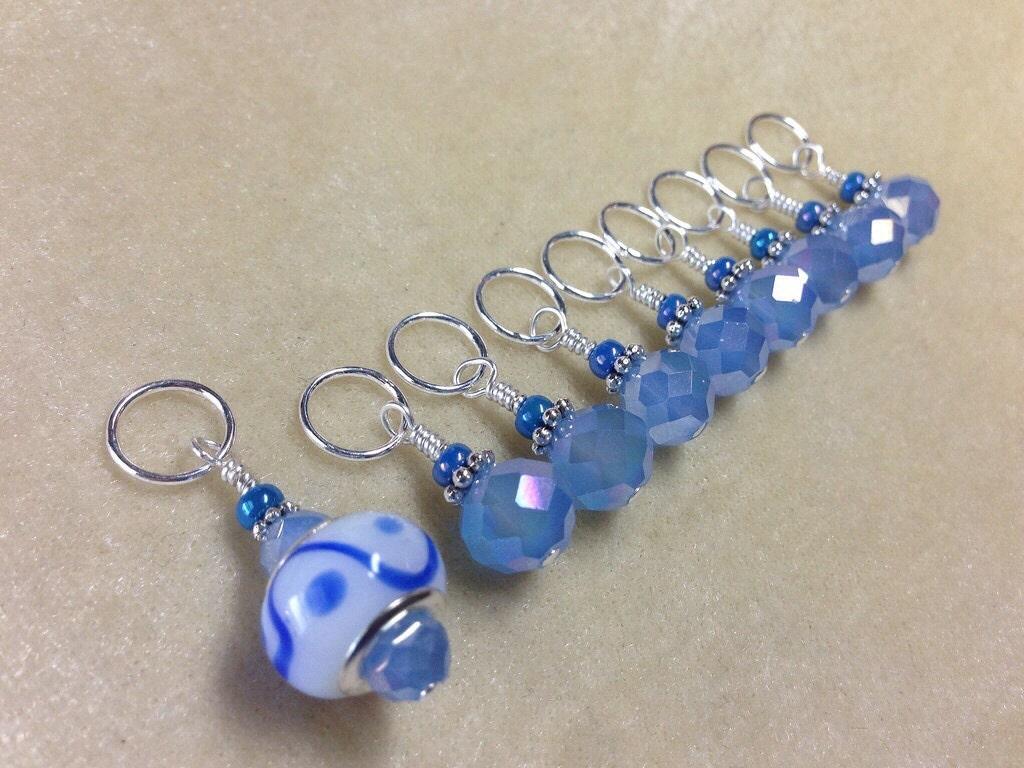 Knitting Using Stitch Markers : Blue Crystal Stitch Markers SNAG FREE Knitting Progress