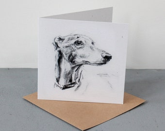 Fine art Card - Greyhound in Charcoal