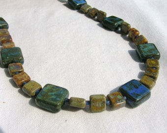 Blue and Brown Square Czech Bead Necklace