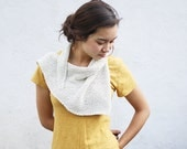 triangle scarf knit kerchief recycled cotton - white OOAK