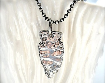 Handmade Recycled Sterling Arrowhead Pendant . Native American Style . MENS JEWELRY . Ecofriendly