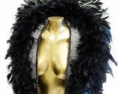 Gothic Raven Feather Collar  Silver/Black Huge Collar Unisex Ready 2 Ship