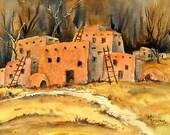 STUDIO SALE! - Southwestern Pueblo Watercolor by Artist Martha Kisling