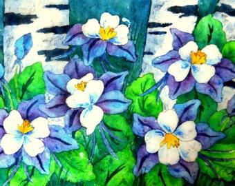 Watercolor Batik Aspen, Watercolor Columbines, Watercolor White Flowers, Colorado Art, Colorado Columbine, Trees and Flowers, Art With Heart