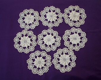 VINTAGE IRISH CROCHET Coasters - Doilies Set of 8  --   4 1/2 inches round