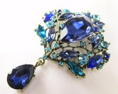Huge Blue and Turquoise Large Crystal Brooch for bridal bouquet or jewelry decoration