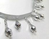 Metallic Silver Short Beaded Fringe Trim, Holiday or  Christmas Trim, Costume Beaded Teardrop Decorator Trim