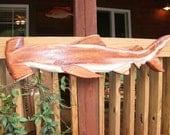 Hammerhead Shark 4 ft. Ocean Arts chainsaw wooden shark carving indoor outdoor wall mount fish sculpture art beach home decor centerpiece