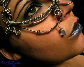 SOLD - Mask Wire Wrapped - Dragon Eye Evil Eye - Blue Cerulean - Teardrop - Silver Colored - Masquerade Vampire Fairy Fae Costume Ice Water