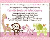 "Personalized/Customized ""Jungle Jill/Girl Animals/Elephant/Giraffe/Zebra/Monkey"" Printable Baby Shower Invitation 5x7 Digital File"