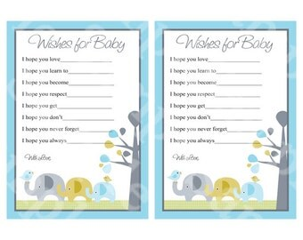 "Printable ""Elephant Love Trunks"" Wishes for Baby Cards Instant Digital Download"
