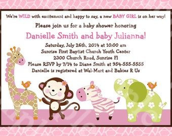 "Personalized/Customized ""Jungle Jill/Girl Animals/Elephant/Giraffe/Zebra/Monkey"" Printable Baby Shower Invitation 5x7 Digital File"