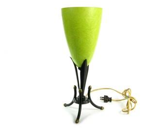 Mid Century Lamp / Art Nouveau Lamp / Yellow / Celadon / Table Lamp / Desk Lamp / Vintage Lamps / Vintage Lighting / Art Deco