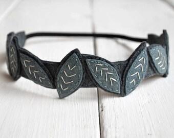 Leaves Crown Headband, Festival Headband, Boho Headband, Rustic Wedding Headband, Crown Headband