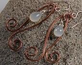Copper Swirl Earrings, Copper, Silver and Moonstone Earrings