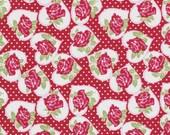 Tanya Whelan Fabric, Valentine Rose in Red, Valentines Fabric, One Yard