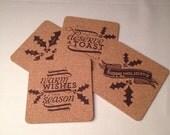 Holiday Cork Coasters - Set of 4, Laser Engraved Cork Christmas Coasters, Holly, Drink, Beverage, X-Mas Cork Coasters