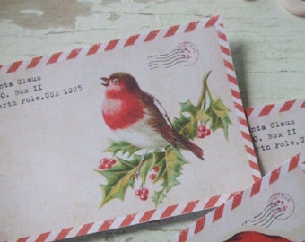 Christmas notecards - Red striped borders - Santa notecards - blank notecards - embellishments