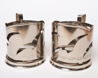 Set of 2 Vintage Russian stainless metal tea glass holders.