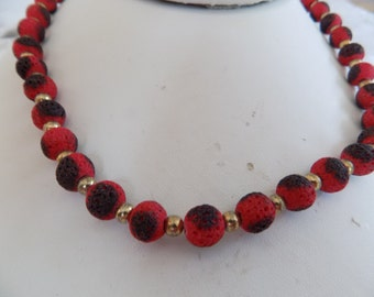 Vintage necklace, red and black lava necklace, lava jewelry, unique necklace, vintage jewelry