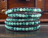 5 Wrap Green Jade Gemstone Beaded Simulated Leather Wrap Bracelet 10804