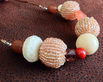 Peach and khaki mixed bead necklace