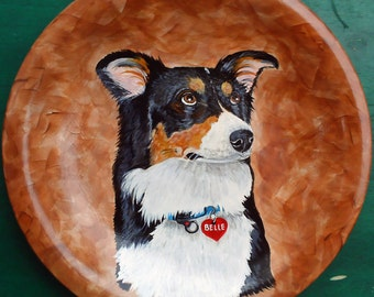 Custom Pet Portrait Hand Painted of Your Dog or Cat or Horse Pet Lover Pets Portrait Personalized on a 10 3/4  Inch Plate Custom