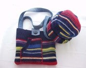 Bright Stripes Purse and Hat Set: handmade from Felted Wool Sweaters, Blue, Yellow, Red