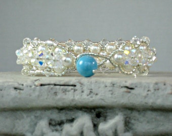 SOMETHING BLUE TURQUOISE Bracelet for Brides with Swarovski Pearls and Crystals for Weddings, Bridal Bracelet, Unique and New