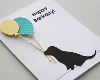 Dog Birthday Card - Dog  silhouette and balloons, Happy Barkday