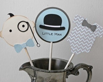 Little Man Cupcake Toppers - Baby Shower, Baby Boy Cake picks, set of 12