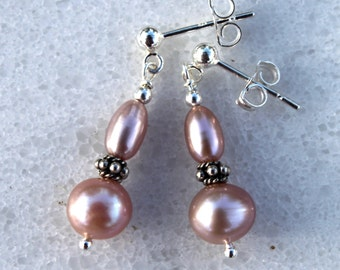 Dangle Studs - Light Pink Fresh Water Pearl Earrings with Sterling Silver - Studs